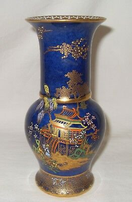 Carlton Ware Blue Mikado Vase, 6.5 Inches.