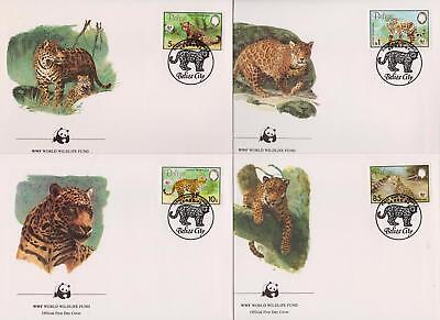Belize 1983 World Wildlife Fund - Jaguar Cat - 4 First Day Covers - (128)