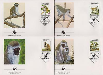 St Kitts 1986 World Wildlife Fund - Green Monkeys - 4 First Day Covers - (136)