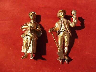 Antique Clock Gilt Figurene Pair/mantel Clock/french Clock Figures/german Time P