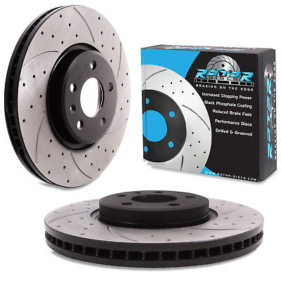 FRONT DRILLED GROOVED 320mm BRAKE DISCS FOR AUDI Q5 2.0 3.0 TDI TFSI QUATTRO