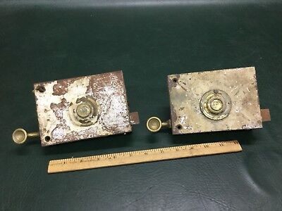 Two Antique French Door Rim Locks One Marked L.N.