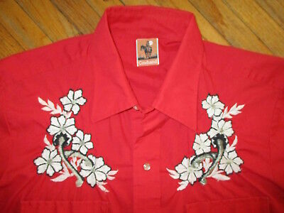 vtg 70s 80s COWHAND EMBROIDERED RED WESTERN SHIRT Pearl Snap Cowboy Floral Spurs