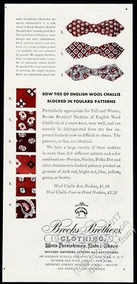 1943 Brooks Brothers bow tie bowtie 3 patterns photo vintage print ad