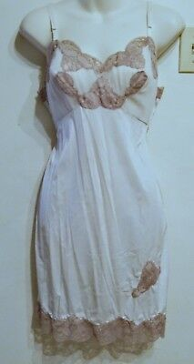 "XS 34"" Bust Retro Full Slip See Thru Nightie Sexy Nylon 60s 70s Taupe Kaiser Can"
