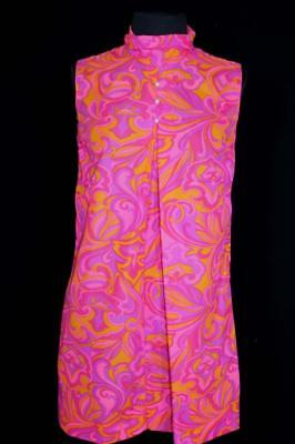 Rare French Vintage 1960's-1970's Colorful Mod Print Poly Dress Size 4- 6