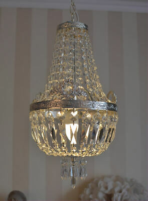 Antique ceiling lamp chandelier crystal candelabra lustre shabby chic silver new