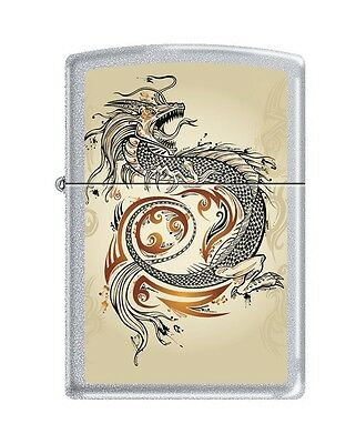 Zippo 2916, Dragon Tattoo, Satin Chrome Finish Lighter