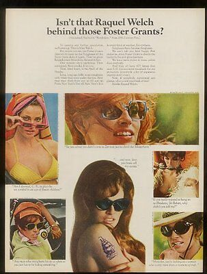 1968 Raquel Welch 6 photo Foster Grant sunglasses vintage print ad