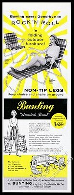 1959 Bunting folding outdoor aluminum and fabric chair chaise photo print ad