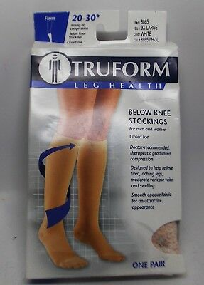 Truform Leg Health Below Knee Stockings Unisex 3X-Large White 8865 20-30mmhg