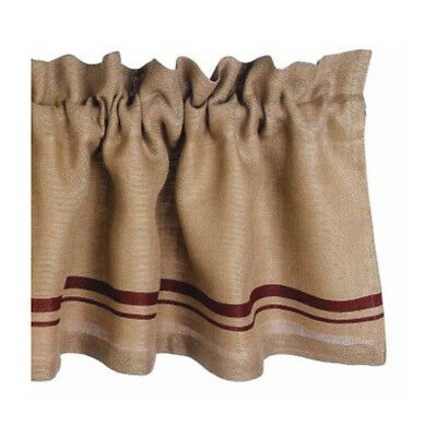 New Rustic Farmhouse Chic Primitive RED STRIPE BURLAP VALANCE Window Curtain