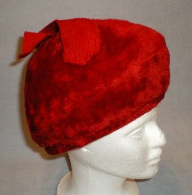 Vintage Bullocks Wilshire Red Brushed Felt w Bow Women Hat Cap Made in Italy