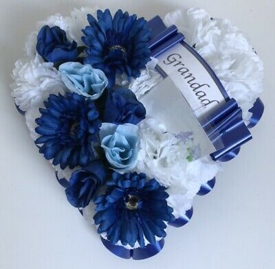 Heart Shaped Silk Artificial Funeral Flowers Wreath/Memorial/ Tribute Dad Blue