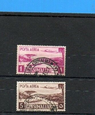 Somalia  1950 Air Stamps High Values One + Five Lire.fine Used. .cat £53