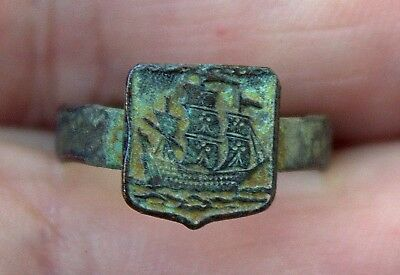 Very Old 17th Century Detailed Bronze Clipper Sailing Ship Hand Forged Ring