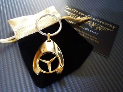 24K Gold Plated Keyring Mercedes AMG Black Shopping Trolley Token A45