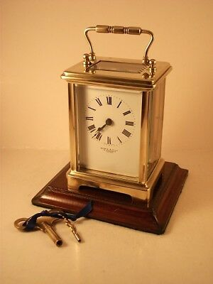 Classic antique brass carriage clock & key. Restored and serviced in Aprl. 2018
