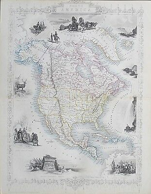 c1854 NORTH AMERICA USA Genuine Antique Map by Rapkin Outline Hand Colouring
