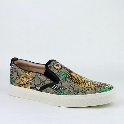 72434156942 Gucci Men s Beige GG Supreme Canvas Bengal Tiger Slip on Sneakers 407362  8680