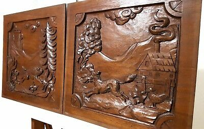Hand Carved Wood Panel Matched Pair Antique Hunting Scene Architectural Salvage