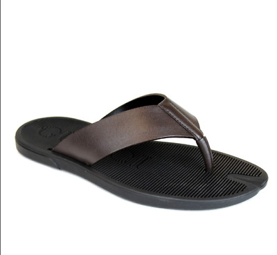 a69696e56809 New Gucci Men s Brown Leather Flip-Flop Thong Sandals 338784 2019