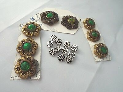 Vintage Plastic Buttons Deco Black / White & Gold with Green Plastic Rhinestones