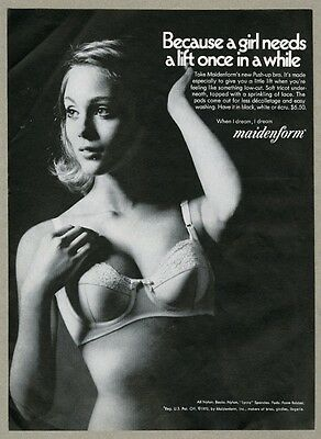 1970 Maidenform Push-up bra pretty woman photo vintage print ad