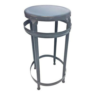 Vintage INDUSTRIAL STOOL steel metal chair gray steampunk factory shop bar round