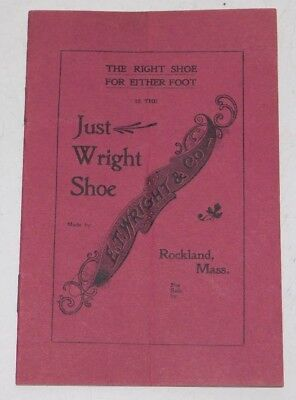 Vintage Rockland Massachusetts  E.T. Wright Just Wright Shoe Brochure