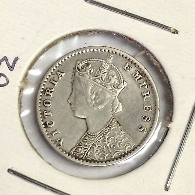 1901 C India 2 Annas silver, Victoria / British Empire, KM#488, VF