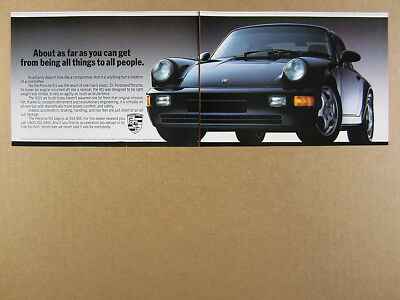 1993 Porsche 911 Carrera black car photo vintage print Ad