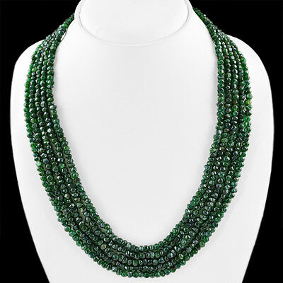 Top Class Aaa 416.85 Cts Natural 5 Line Rich Green Jade Faceted Beads Necklace