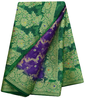 Indian Vintage Saree Woven Purple Pure Silk Indian Sari Ethnic Craft Fabric 5Yd.