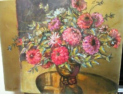 Ruth Emerson Original Oil On Board Floral Vase Painting Listed Calif Artist
