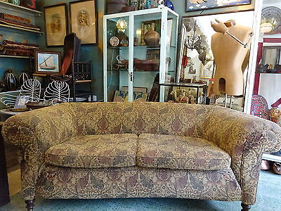Antique Victorian Chesterfield Settee Sofa W. Morris Type Brocade Upholstery