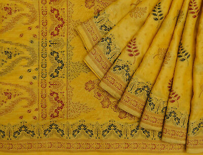 Indian Vintage Saree Woven Yellow Pure Silk Indian Sari Ethnic Craft Fabric.