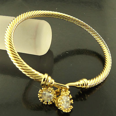 Bangle Cuff Bracelet Genuine Real 18K Yellow G/f Gold Diamond Simulated Design