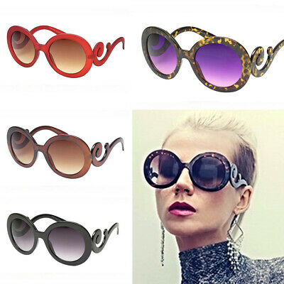 Designer Inspired Oversized Women's Oval Round 80's Fashion Swirl Arm Sunglasses