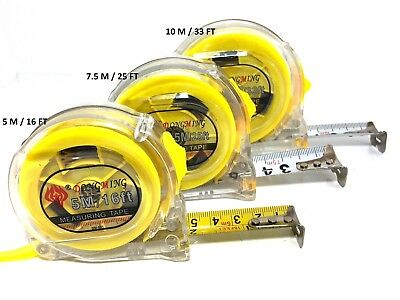 5m, 7.5m & 10m Measuring Tape Retractable Stainless Steel Heavy Duty
