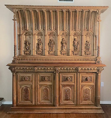 "Antique Victorian Large 19th C Large  European  Side Board Hand Carved   93""tall"