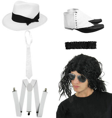 Jacko Smooth Criminal 6 Piece Set King Of Pop Fancy Dress Costume Wig Spats Tie