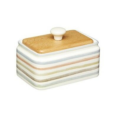 Kitchencraft Classic Collection Striped Ceramic Butter Dish With Lid - Cream