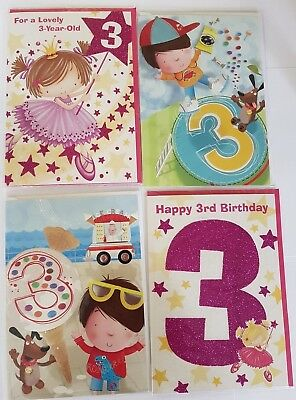 Age 3 Birthday Card Male Or Female Boy Girl 3rd Cards