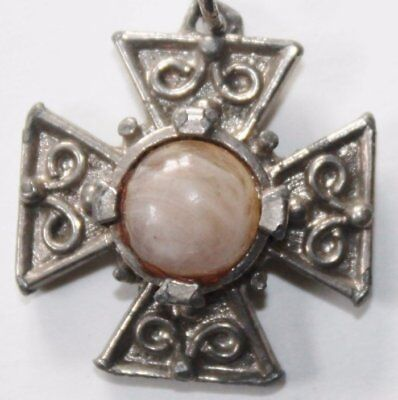 Vintage Necklace Pendant Art Cross Medal with a Stone