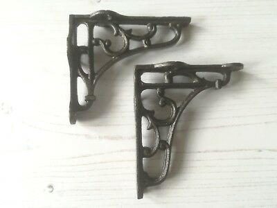 "Pair Of Small Cast Iron Shelf Brackets Victorian Scroll  4""x 3.5"" Free Post"