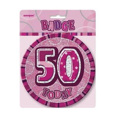 "Pink Glitz 50 Today 6"" Giant 50th Birthday Badge Party Badges Decorations"