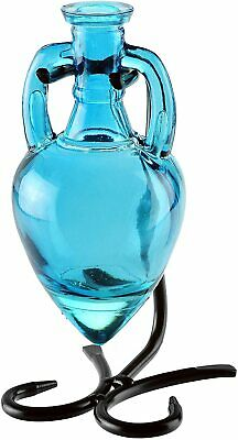 Couronne - Amphora Recycled Glass Vase & Metal Stand - Aqua