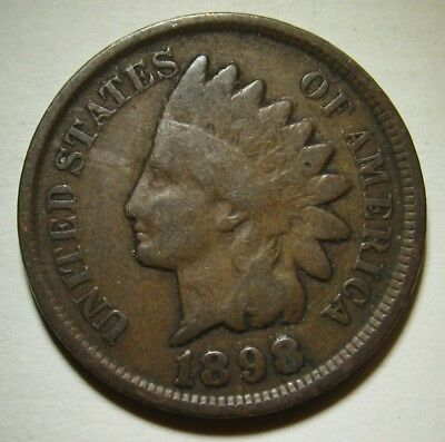 1898 Indian Head Cent in Average Circulated Condition    DUTCH AUCTION