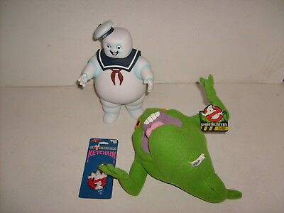 Ghostbusters Stay Puft Figure & Slimer Plush Figure W/tag Vintage Key Chain Lot